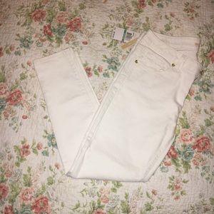 Michael Kors off white skinny jeans.